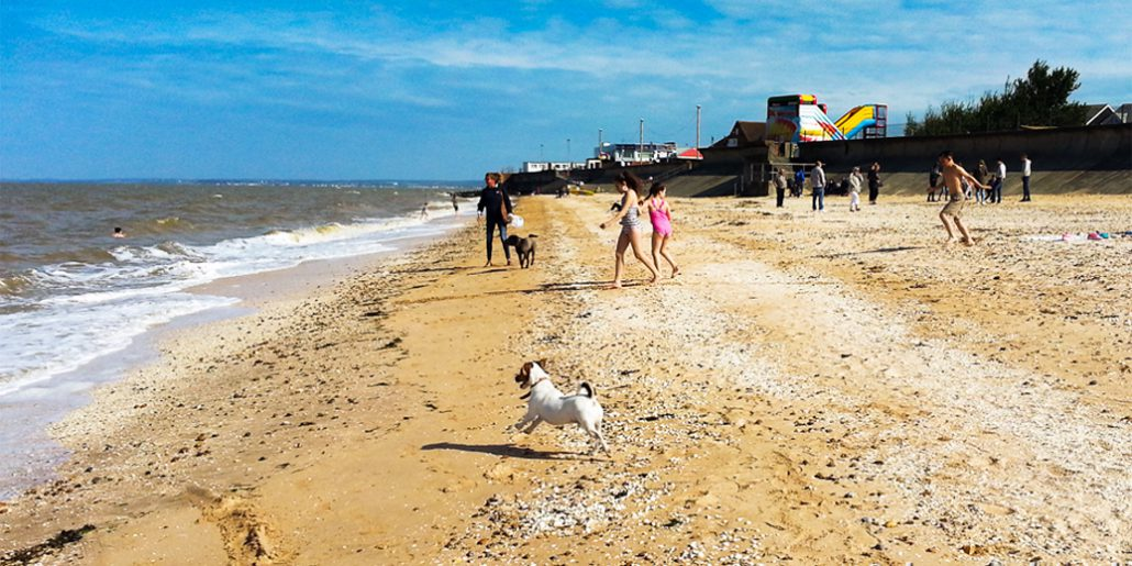 Sheerness beach with children playing